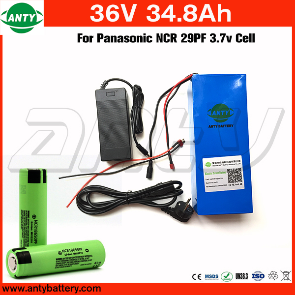 Lithium ion battery 36v 34.8Ah For Panasonic NCR 29PF Cell with 2A Charger Built in 50A BMS for 1400w eBike Motor Free Shipping free customs taxe 36v 1000w triangle e bike battery 36v 40ah lithium ion battery pack with 30a bms charger for panasonic cell