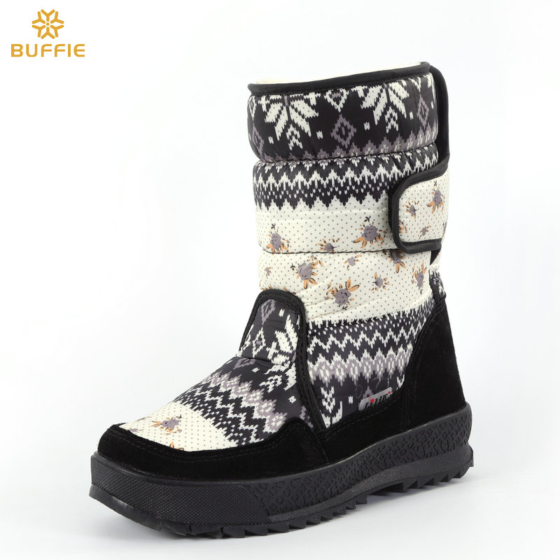 Women's boots winter warm shoes snowboot non-slip Rubber outsole snowflake nice looking big plus size free shipping black flower shoulder cut plus size flower blouse