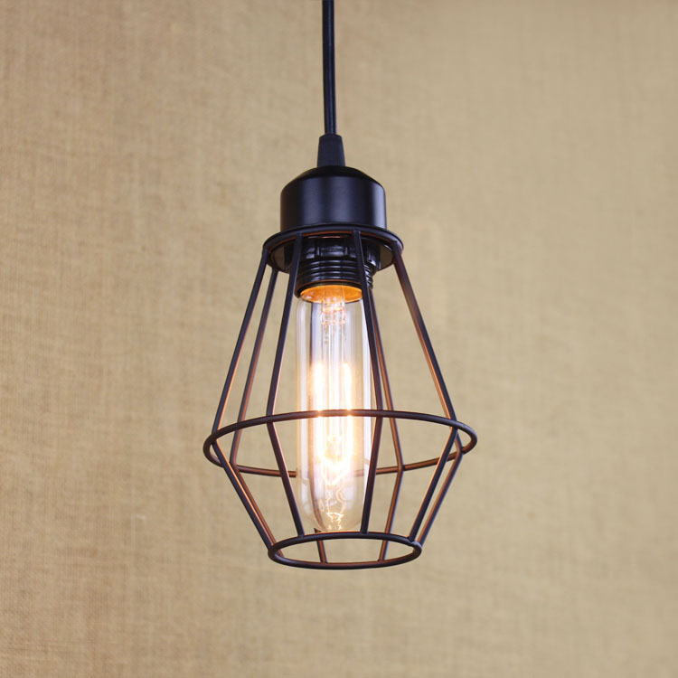 Loft Vintage Industrial Retro Pendant Lamp Edison Light E27 Holder Iron Restaurant Bar Counter Brief Bookstore Cage Lamp WPL097 vintage loft industrial edison flower glass ceiling lamp droplight pendant hotel hallway store club cafe beside coffee shop