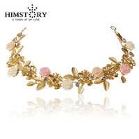 Novo Ouro Rosa Flor & Folha Barroco Tiara Do Casamento Tiara De Noiva Acessórios Para o Cabelo de Cristal Headpiece Hairwear