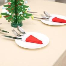 Christmas Ornaments Hat Decorations Noel Tableware Knife Fork