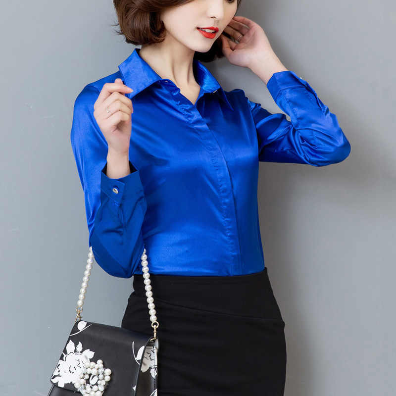 9bad58701f744d ... Women Satin Silk Long Sleeve Button-Down Shirt Formal Work Business  Silky Shiny Blouse Top