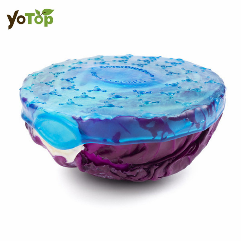 YOTOP 4pcs / set hranjenje hrane svež saran ovitek silikonske ovojne - Kuhinja, jedilnica in bar