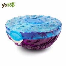 YOTOP 4Pcs/Set Keeping Food Fresh Saran Wrap Silicone Wraps Seal Vacuum Cover Fruits Vegetables Preservative Film Lid