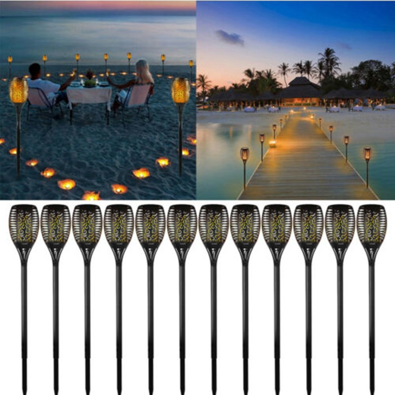 1-20pcs 96LED Solar Torch Light Flickering Dancing Flame Garden Waterproof Lamp