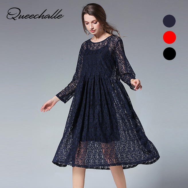 Us 3681 28 Offqueechalle Two Pieces Set Solid Vintage Lace Dress Female Long Sleeve Loose Dress Xl Xxl Xxxl 4xl Plus Size Women Dress Navy Red In