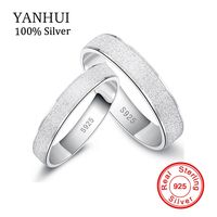 New Trendy Frosted Couple Rings Real 925 Sterling Silver Wedding Set Rings For Women And Men
