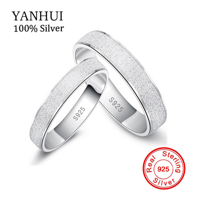 New Trendy Frosted Couple Rings Real 925 Sterling Silver Wedding Set