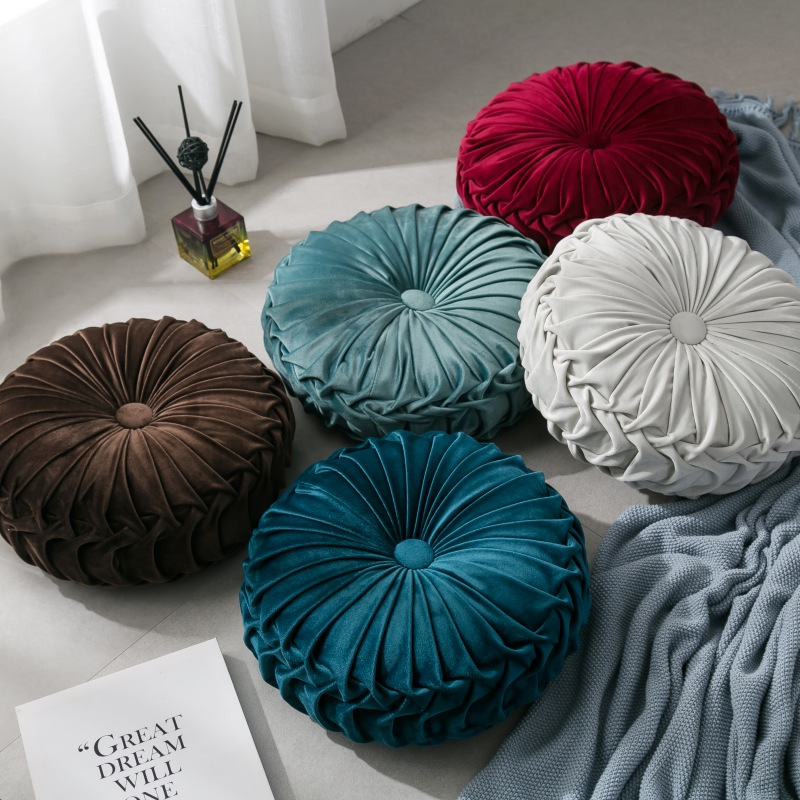 Velvet Pleated Round Pumpkin Throw Pillow Couch Cushion