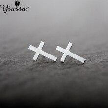 Yiustar Cross Earrings for Women Girls Simple Tiny Brass Cross Stud Earrings for Femme Religious Christian Jewelry Wholesale
