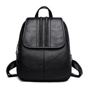 Image 2 - 2019 여성 가죽 배낭 여자를위한 고품질 여행 어깨 가방 여성 배낭 빈티지 bagpack cusual daypack rucksack