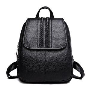 Image 2 - 2019 kobiet plecaki skórzane wysokiej jakości podróży torby na ramię kobiet plecak dla dziewczyny w stylu Vintage plecak dorywczo plecak na co dzień plecak