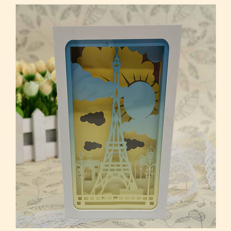 Tower Design Paper Lantern 3D Papercut Light Boxes, Baby Night Light Lamp of Creative Light Paintings Fam