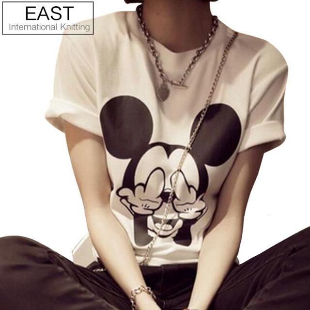 East knitting 2017 femmes souris à manches courtes t-shirt femmes mince t shirts t-shirts harajuku