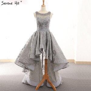 Image 2 - Vestidos de Noche asimétricos de tul, ropa de noche gris, Sexy, bordada con perlas, sin mangas, Formal, de noche, Hill HM66595 Serene, 2020