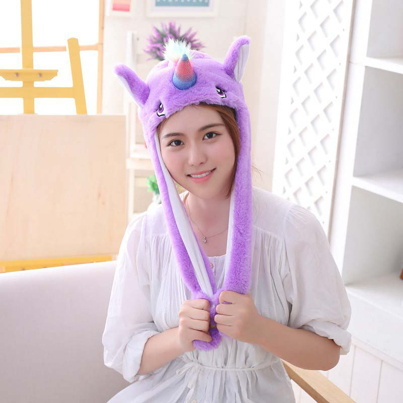 5 models Unicorn Hat Moving Ears Cute Cartoon Toy Hat Airbag Kawaii Funny Toy Cap Kids Plush Toy for kids Gift in Cartoon Hats from Toys Hobbies