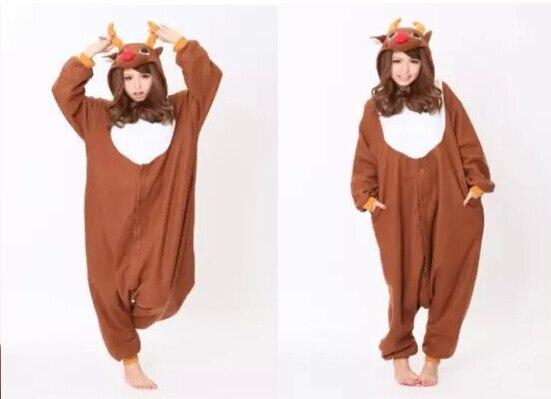 Adult animal christmas deer cosplay pajamas onesie sleepwear costume