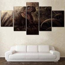 5 Pieces Paintings Canvas Wall Art Home Movie Jurassic World Decor Living Room Modern Picture