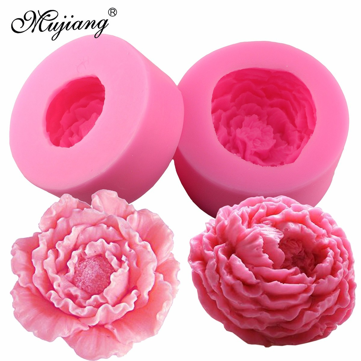 3D Silicone Candle Molds Peony Flower Fimo Clay Soap Mold Fondant Chocolate Cake Baking Moulds Cake Decorating Tools