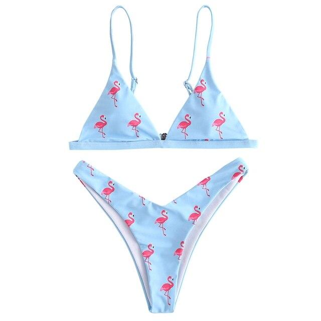 05f6933702 Flamingo Printed High Leg Women Bikini Set Spaghetti Straps High Cut  Bathing Suit Swimsuit High Leg Thong Bikini Push Up Bikini