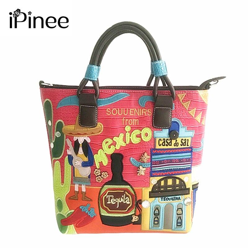 Ipinee女性puレザーバッグショルダーbolsosイタリアハンドバッグレトロ手作りボルサfeminina刺繍バッグ女性メキシコバッグ  グループ上の スーツケース & バッグ からの トップハンドルバッグ の中 1