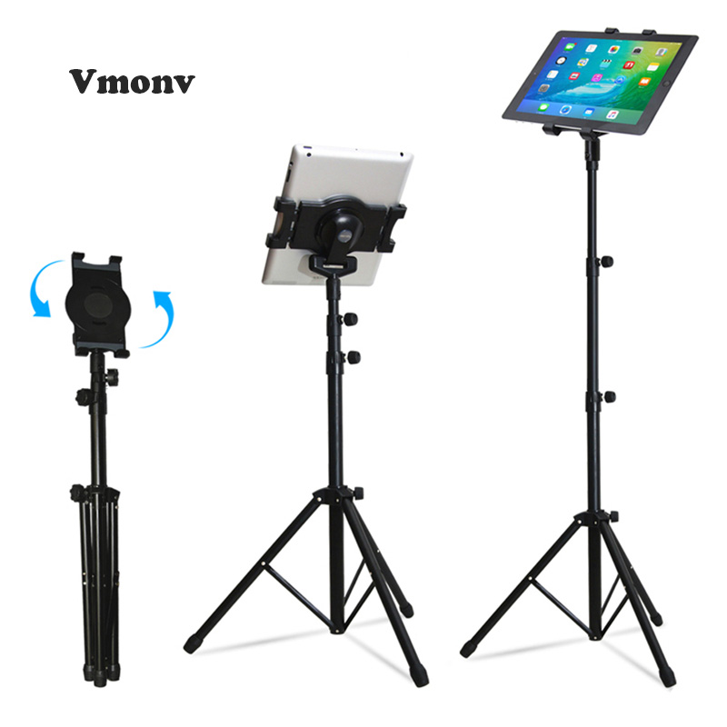 Tripod Rotation Tablet Holder Stand for Ipad Air Mini 1 2 3 4 Floor Stand Tablet Mount Holder with Tripod Base for IPAD Pro 9.7 portable 5 level abs stand holder for ipad 2 ipod touch 4 iphone 3g 4 purple