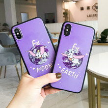Funny cartoon phone case cute purple Dumbo Elephant for coque iPhone 7 plus 8 6s 6 X XR XS max kawaii silicon cover