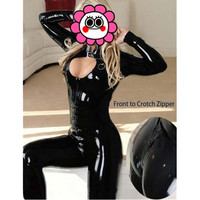 Abbille Sexy Black Catwomen Jumpsuit Latex PVC Catsuit Costumes For Dance Women Body Suits Fetish Leather
