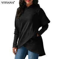 VITIANA Women Winter Warm Plus size 3XL Hoodies sweatshit Coat Female Autumn Black Long Sleeve Pocket wool Pullover Outerwear