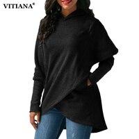 Vitiana المرأة شتاء دافئ زائد الحجم 3xl هوديس sweatshit الصوف معطف أنثى الخريف أسود طويل الأكمام جيب السترة قميص
