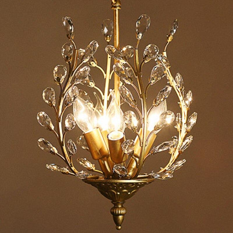 T Gold Crystal American style Pendant Light For Bedroom Dining Room Balcony Corridor Living Room Fashion Retro Lamp led Bulb