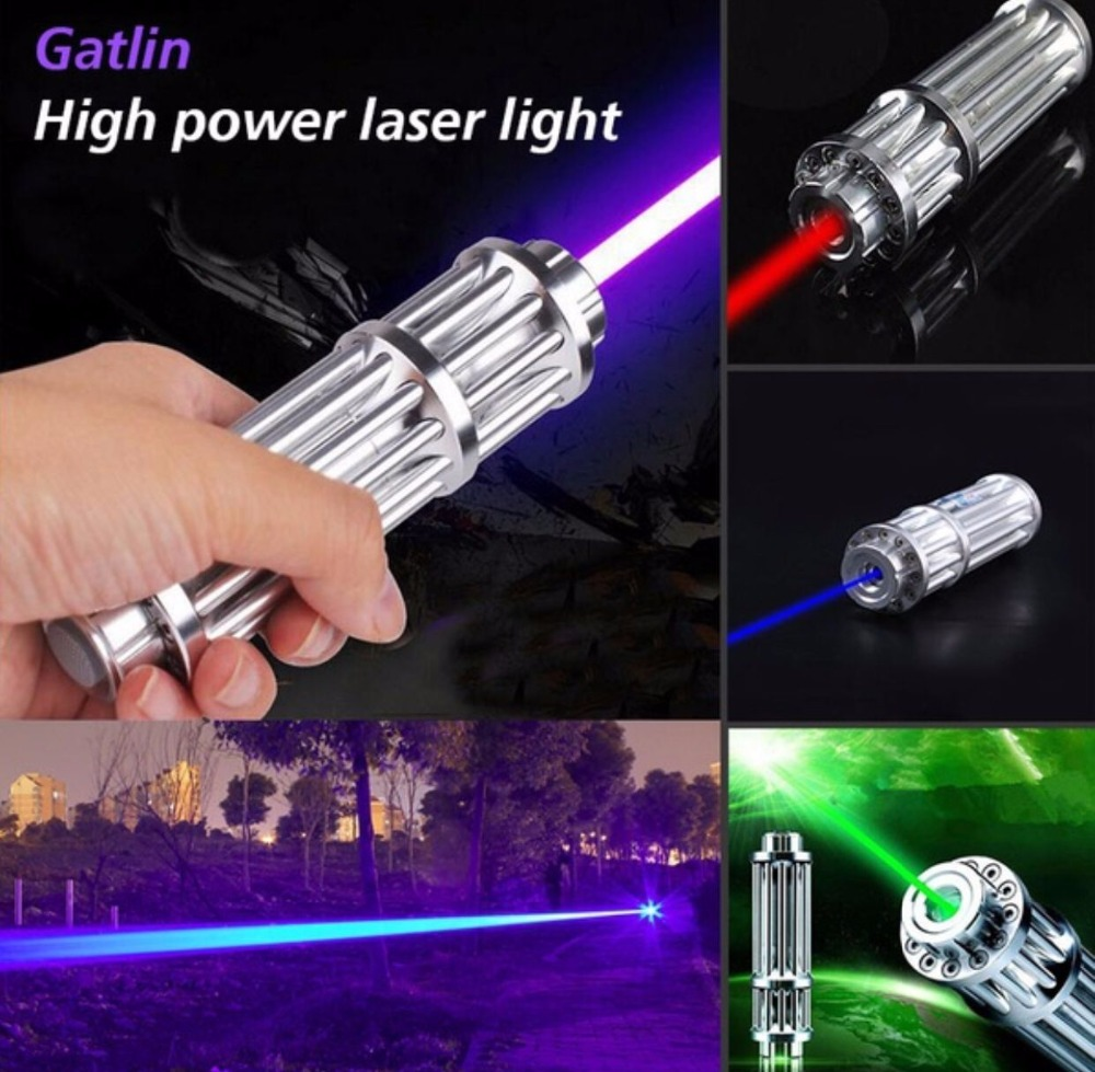 AAA New Military Hunting LED 200000m RED green blue Laser Pointer Light Pen Laser Beam High Power focus burn cigarette+5 caps