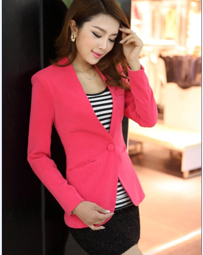 db1855bc11f ... ladies cardigan and jacket candy color coat long sleeves Slim suit  single button female jacket large suit jacket -in Blazers from Women's  Clothing