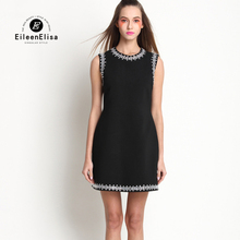 Runway Mini Dress Women Summer 2017 Casual Beaded Sleeveless Short Black Luxury Dresses