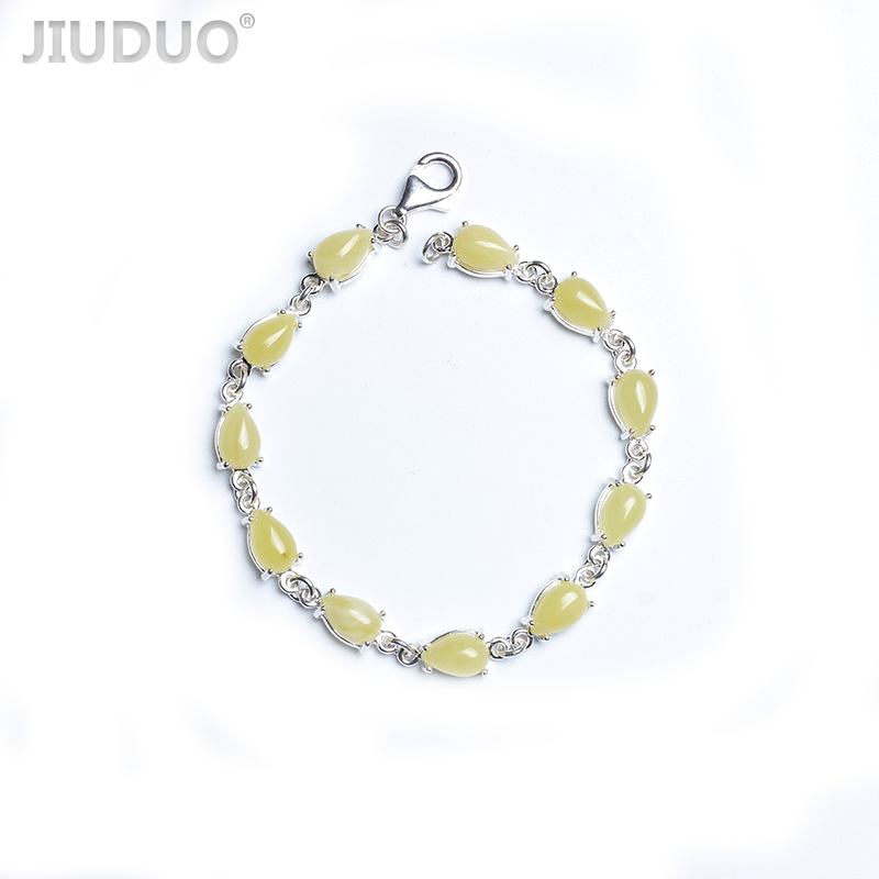 JIUDUO jewelry 925 sterling silver inlaid natural butter yellow old beeswax old amber bracelet antique bracelets European backJIUDUO jewelry 925 sterling silver inlaid natural butter yellow old beeswax old amber bracelet antique bracelets European back
