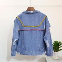 2017 New Autumn Fashion All-match Hole Outerwear Turn-down Collar Patch Embroidery Denim Jacket Casual Applique Coats