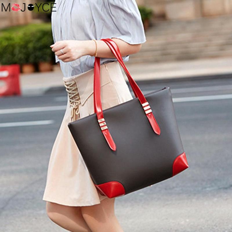 Zipper Signore Eleganti Leather Grandi Capacità Shoulder Pu Nero Bag Il brown Disegno rosso Di Marca Qualità Donne Borse Casuale Alta Lusso qt5Avww