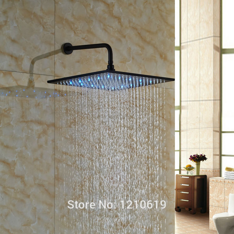 Newly Color Changing LED 16 Rain Shower Head Sprayer Oil-rubbed Bronze Top Shower Head w/ Arm Wall-mount led 10 rainfall oil rubbed bronze shower head round top sprayer w wall mount shower arm