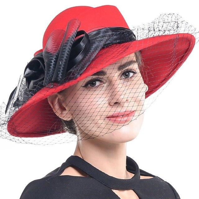 83eb670a1def0 Femmes 100% Laine Formelle Robe Chapeau Église Parti Voile De Mariage Chapeaux  Large Bord Feutrés