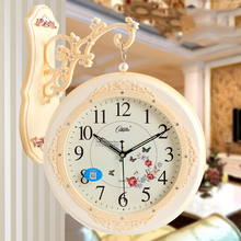 European Retro Creative Home Wall Clock Fashion Pastoral Double-sided Hanging Decoration Living Room Silent Needle Quartz5K593