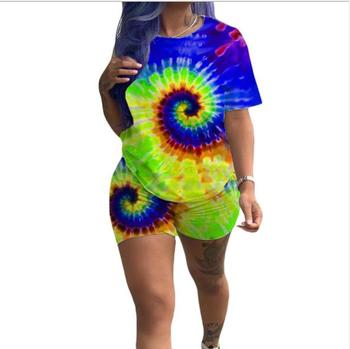 Impressão feminina curto conjunto de duas peças topo e shorts conjunto de treino de verão streetwear suor terno feminino conjunto casual 2 peças roupas 2019