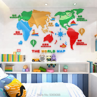 Living room acrylic wall stickers removable waterproof home decoration colorful world map 3d wall stickers