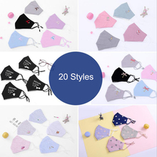 5Pcs/lot Adult Mouth Mask Dustproof Winter Warm 3D Printing Cotton Face Black 20 Styles Pattern Women D30