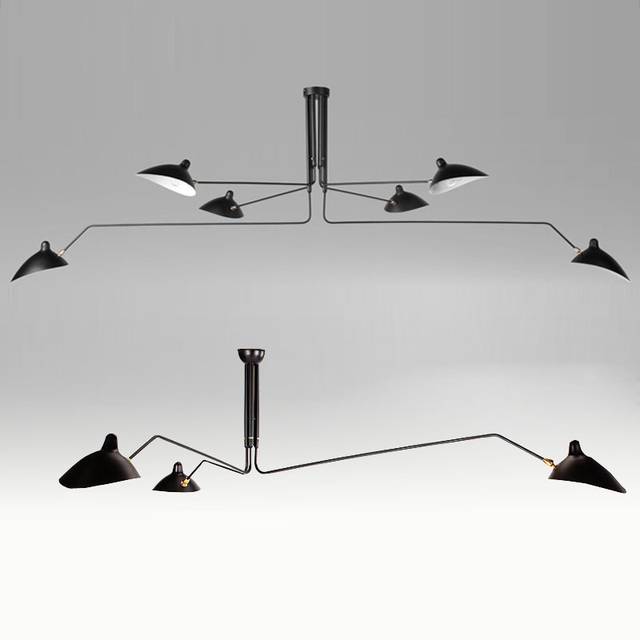 nordic ceiling lamp black 3 arms serge mouille ceiling lights duckbill replica rotating dining room kitchen - Black Kitchen Lights