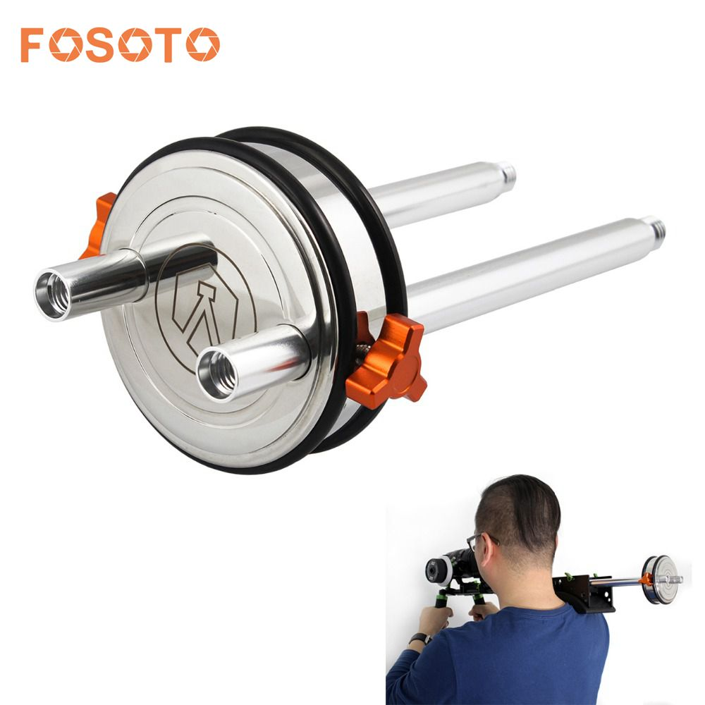 fosoto Stainless Steel DSLR Shoulder Rig Counter Weight with 2x 8 15mm Rods dslr rig double hand handgrip shoulder