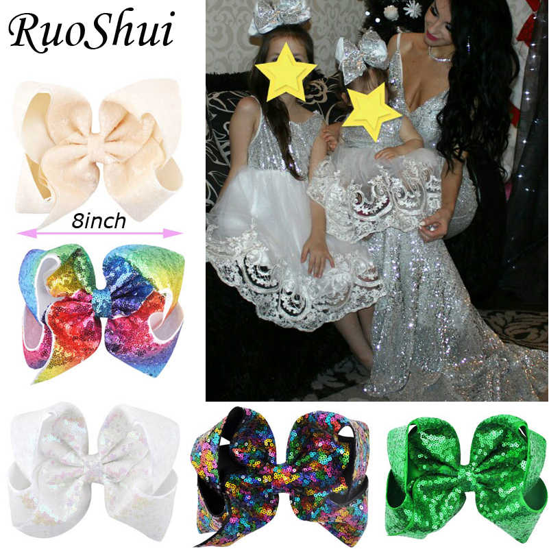29Colors 8 inch Big Rainbow Large Hair Bow Sequins Ribbon Hairgrips With Alligator Clips Headwear Bowknot Girls Hair Accessories
