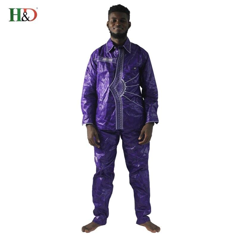 2018 afrikanske menn klær nye mote bazin riche sett mann topper og - Nasjonale klær - Bilde 3