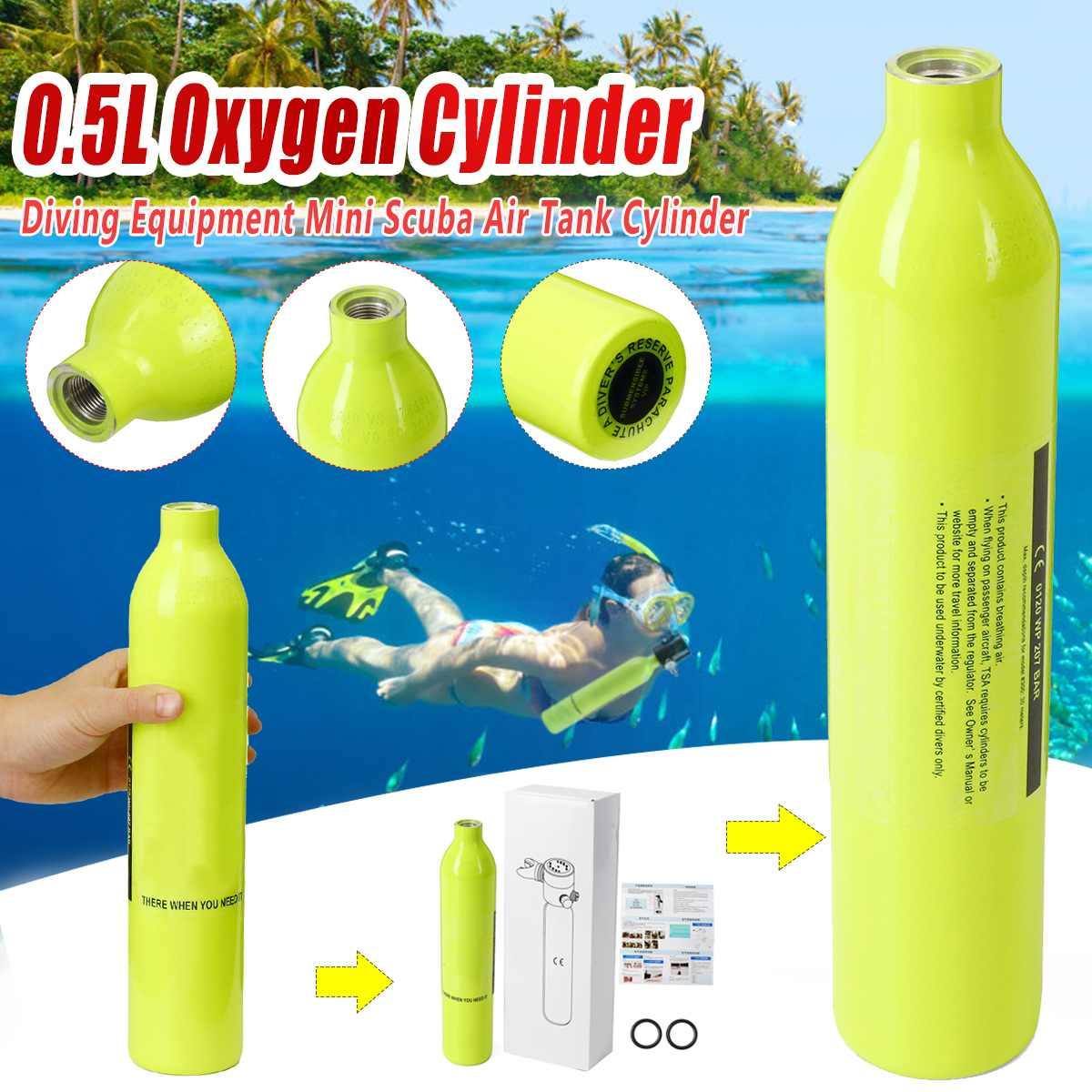 Équipement De plongée 0.5L Mini Plongée Oxygène Réservoirs D'air Soupape De Culasse Embout Buccal Plongée Sous-Marine Appareil Respiratoire