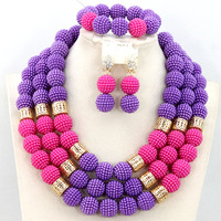 Gorgeous Purple and Pink Plastic Balls Costume African Jewelry Sets Indian Wedding Jewelry for Brides Free Shipping hx100