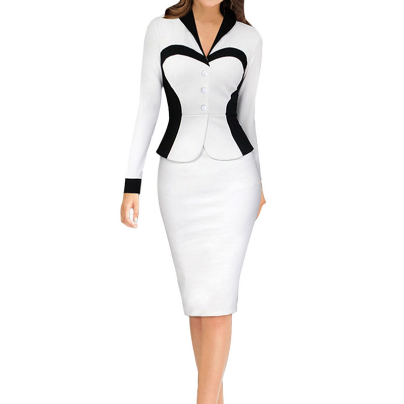Lasperal Work Bussiness Formal Suit Dress Women Long Sleeve Patchwork 2 Piece Sets Office Las Charming Uniform Vestidos In Dresses From S Clothing